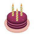 birthday cake icon isometric style vector image