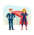 businessman and superwoman is superheros on vector image