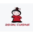 cartoon asian woman with chopstick inthe hair vector image
