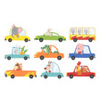 colored set kids transport with cute little vector image vector image
