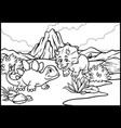 coloring page of cartoon triceratops and vector image vector image