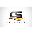 cs c s swoosh letter logo design with modern vector image