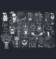 cute forest animals set - chalkboard style vector image vector image