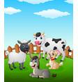 farm animal cartoon on the field vector image