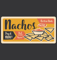fast food retro banner for nachos mexican snack vector image vector image