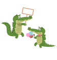 friendly cartoon crocodiles set vector image