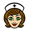 friendly female nurse cartoon face smile vector image vector image