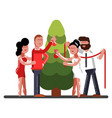 friends adorns a new year tree vector image vector image