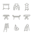 Furniture for laundry flat line icons set vector image vector image