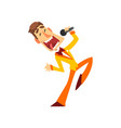 game show host joyful man with microphone vector image