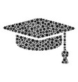 graduation cap composition of filled circles vector image