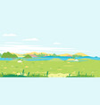 grass field with river spring landscape vector image