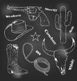 hand drawn cowboy retro vintage elements vector image vector image