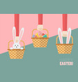 hands are holding easter baskets vector image