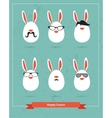 happy hipster easter - set stylish bunny icons vector image vector image
