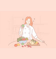 health vegan food cooking concept vector image