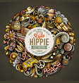 hippie hand drawn doodles round vector image
