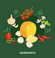 italian food green background vector image vector image
