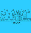 italy milan winter holidays skyline merry vector image