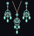 jewelry set earrings and pendant with precious vector image vector image