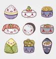 kawaii asian sushi cartoon set vector image vector image
