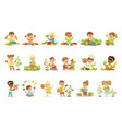 little children having fun and playing vector image vector image