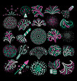 modern festive firework icons collection vector image vector image