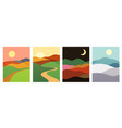 mountains hills with sunset sunrise night vector image