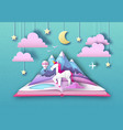 open fairy tale book with unicorn and mountain vector image