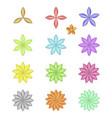 pattern flower five petal set vector image