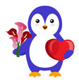 penguin with flower on white background vector image vector image