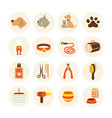 pets grooming shop icons set vector image