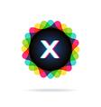 Retro bright colors Logotype Letter X vector image