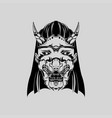 samurai mask monochrome version japanese vector image vector image