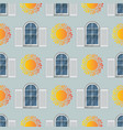 seamless pattern of window and sun vector image vector image