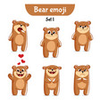 set of cute bear characters set 1 vector image