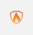 shield fire logo design element fire shield vector image vector image