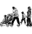 sketch a strolling family vector image