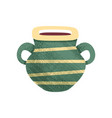 small green ceramic pot with stripes and two vector image