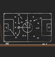 soccer strategy on black board with point vector image