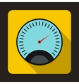 Speedometer with blue background icon flat style vector image