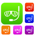 swimming mask set collection vector image vector image