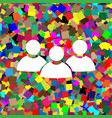 team work sign white icon on colorful vector image vector image