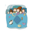 the family sleeps in bed cartoon mom dad and vector image vector image