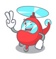 two finger helicopter character cartoon style vector image