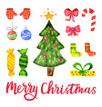 watercolor christmas and new year vector image