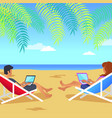 working man and woman on beach vector image