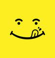 yummi smile emoticon cartoon symbol vector image