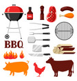 bbq set of grill objects and icons vector image
