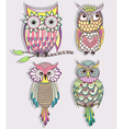 Set of cute colorful owls vector image